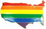 gay pride flag on usa map shape cutout belt buckle