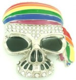 skull with gay pride flag bandanna cutout