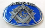 mason oval blue and gray belt buckle