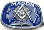 mason blue and gray square belt buckle
