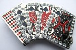 poker straight red and black with stones belt buckle
