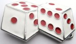 dices white and red cut out belt buckle