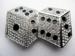 dices silver and black with stones cut out belt buckle