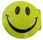 happy face bright green with stones belt buckle