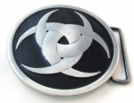 tribal in circle black and gray belt buckle