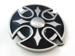 tribal in circle black and gray cut out belt buckle