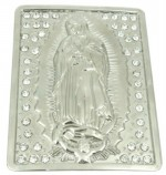 virgin mary with stones in square belt buckle