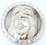 jesus face in a ring with stones silver belt buckle