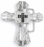 cross with stones belt buckle
