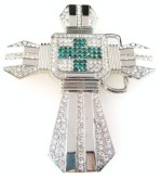 cross with stones and green cross in the middle cutout silver belt buckle