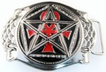 onk cross with five point star belt buckle