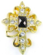 cross gold with black stone in center and clear stones belt buckle