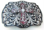 cross belt buckle burgandy with designs in gray