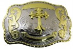 western beltbuckle cross in western two tone beltbuckle
